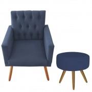Poltrona Decorativa Nina Captone e Puff Redondo Azul Marinho - Bela Casa Shop