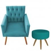 Poltrona Decorativa Nina Captone e Puff Redondo Azul Turquesa - Bela Casa Shop