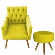 Poltrona Decorativa Nina com Captone e Puff Redondo Amarelo- Bela Casa Shop