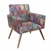 Poltrona Decorativa Nina com Pés Madeira Suede Mosaico