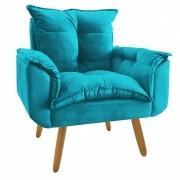 Poltrona Decorativa  Opala Plus Azul Turquesa
