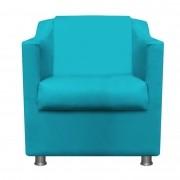 Poltrona Decorativa Tilla Suede Azul Turquesa