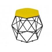 Puff Decorativo Onix Aramado Geométrico Preto Suede Amarelo