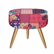Puff Decorativo Redondo com Pés Madeira Suede Patchwork - Bela Casa Shop