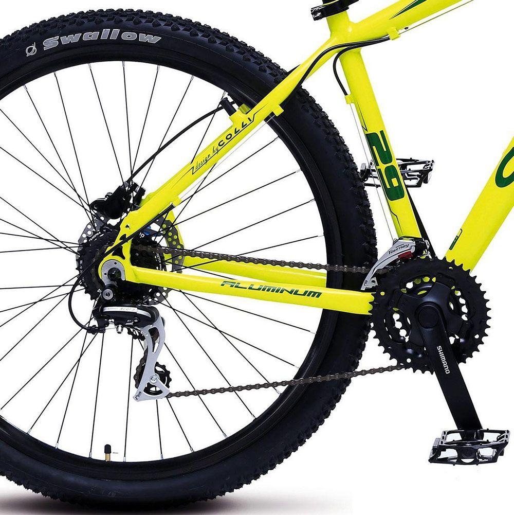 Bicicleta Colli Aluminio Aro 29 Freio Disco Kit Shimano Altus 24 Marchas Amarelo Neon