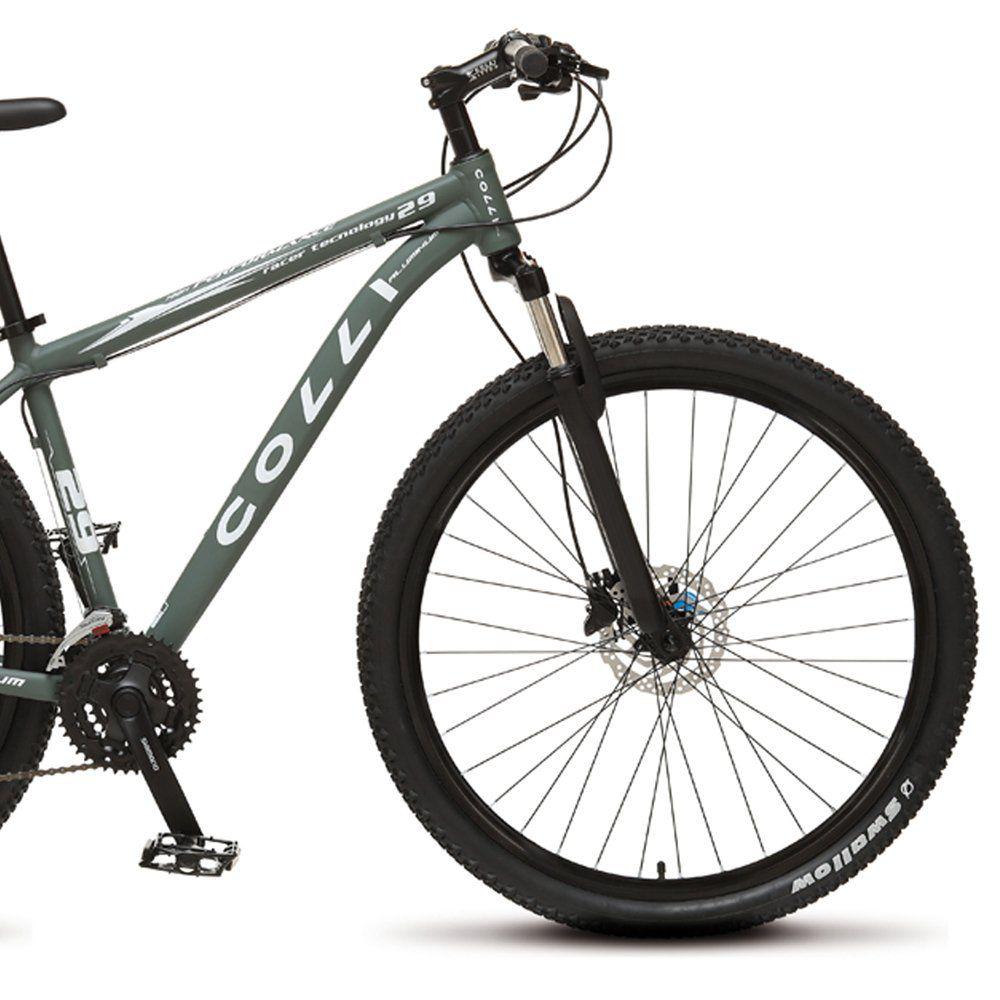Bicicleta Colli Aluminio Aro 29 Freio Disco Kit Shimano Altus 24 Marchas Cromado