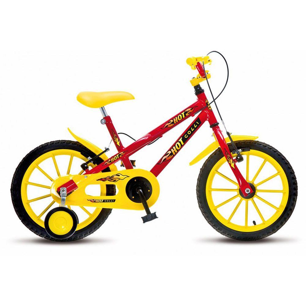 Bicicleta Colli MTB Hot Aro16 Masculino Vermelho Amarelo