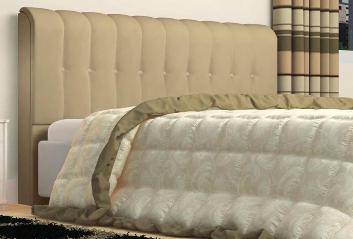 Cabeceira Kiara 90cm Tecido Sintético Bege Solteiro