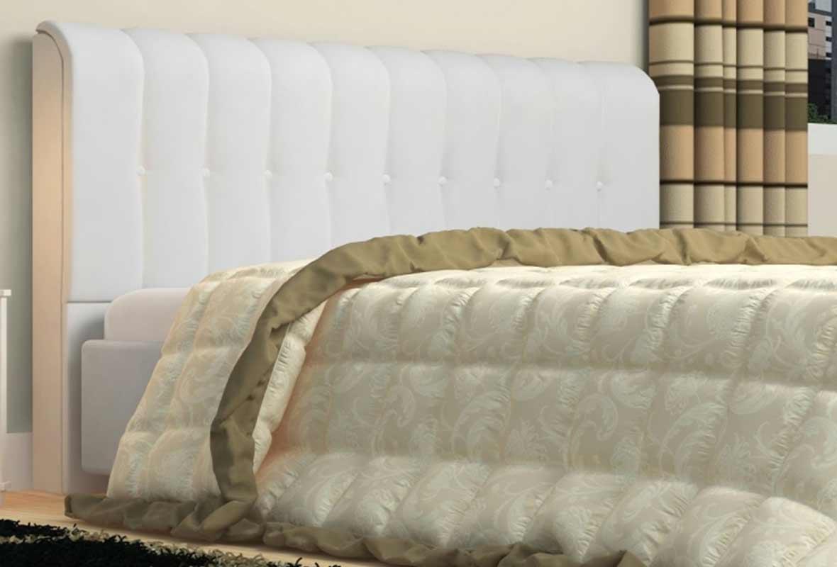 Cabeceira Kiara 90cm Tecido Sintético Branco Solteiro