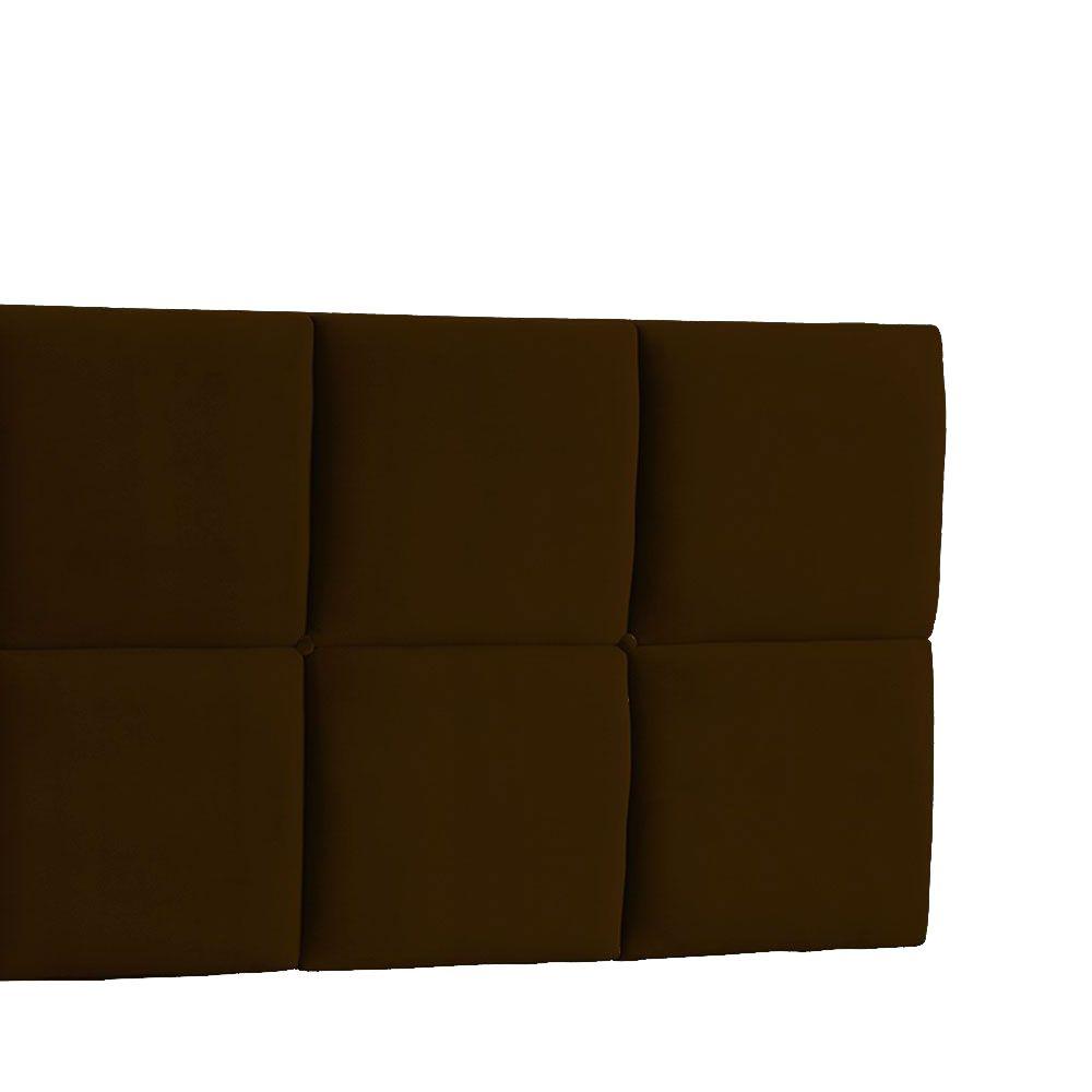 Cabeceira Painel Casal Poliana 140 cm Suede Marrom