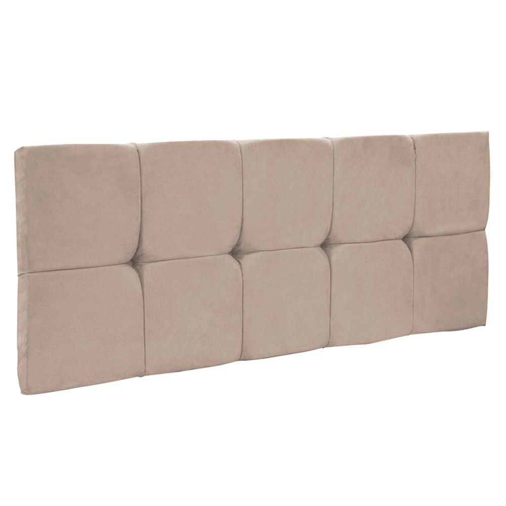 Cabeceira Painel Nina King 195 cm Suede Bege
