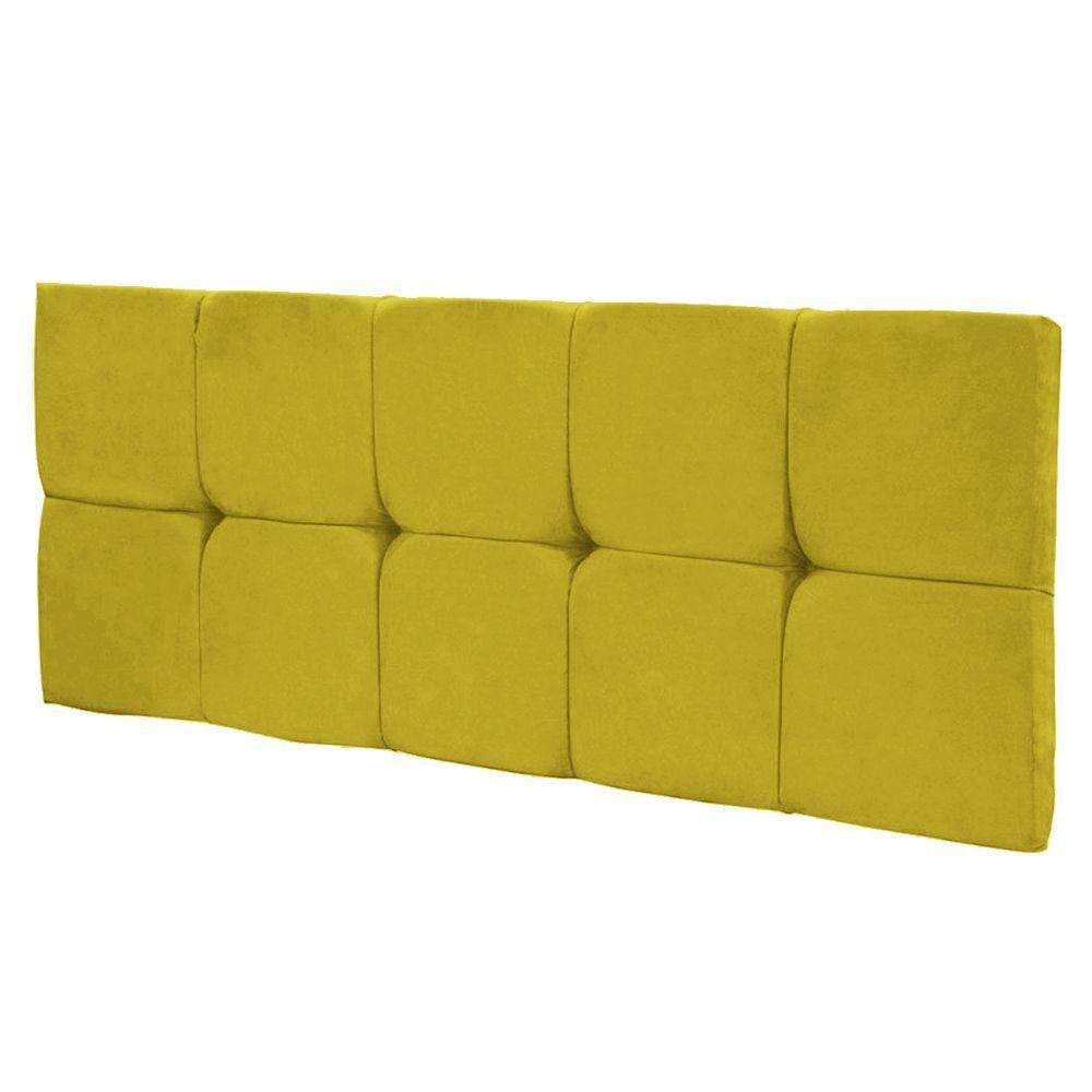 Cabeceira Painel Nina Solteiro 100 cm Suede Amarelo