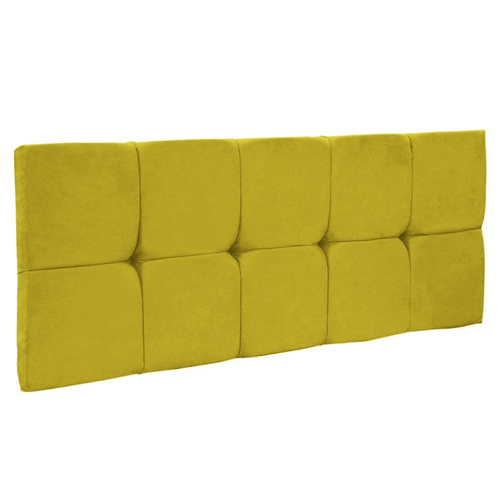Cabeceira Painel Nina Solteiro 90 cm Suede Amarelo