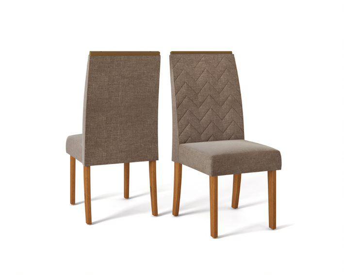 Cadeira De Jantar LAURA TELHA LINHO MARROM - CONJUNTO COM 2 CADEIRAS
