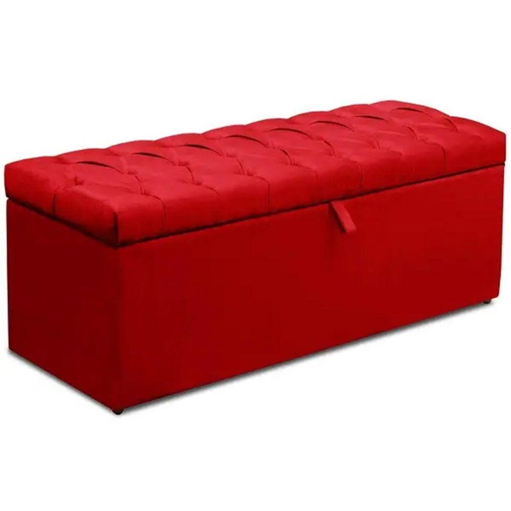 Calçadeira Italia Casal 140 cm Suede Vermelho - Arte das Cabeceiras