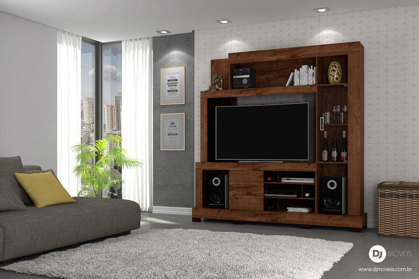 Estante Cristal Rústico Malbec para TV de até 55 Polegadas - DJ Móveis