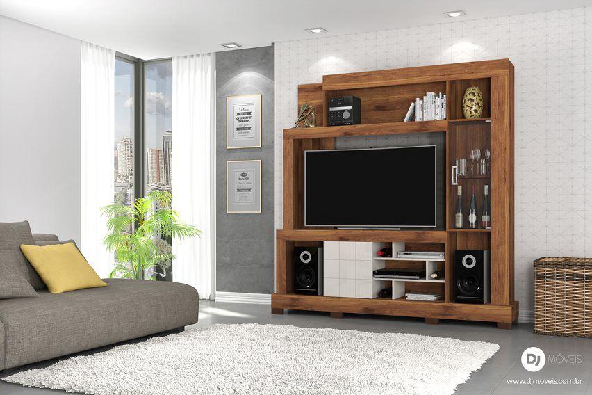 Estante Cristal Rústico Terrara/Off White para TV de até 55 - DJ Móveis
