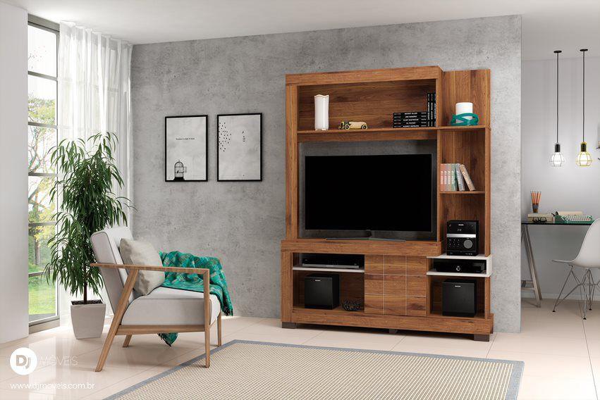 Estante Delize Rústico Terrara/Off White para TV de até 42 - DJ Móveis