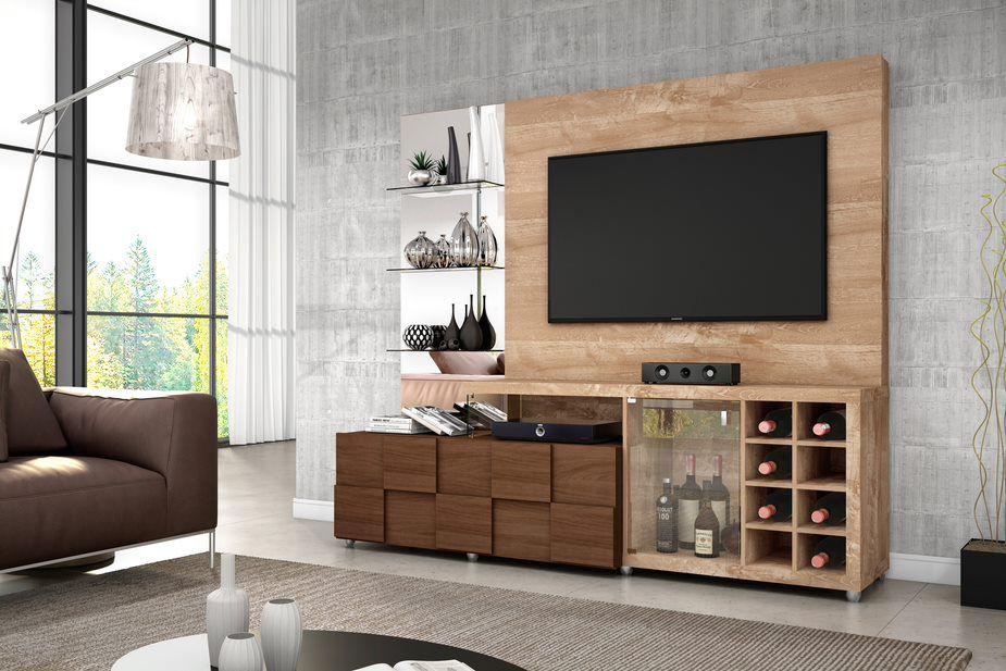 Estante Home New Turati Rústico York para TV de até 65 - DJ Móveis