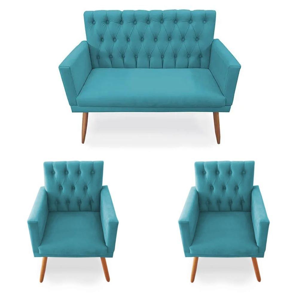 Kit 02 Poltrona Decorativa Nina com Namoradeira Gran Nina Captone  Azul Turquesa - Bela Casa Shop