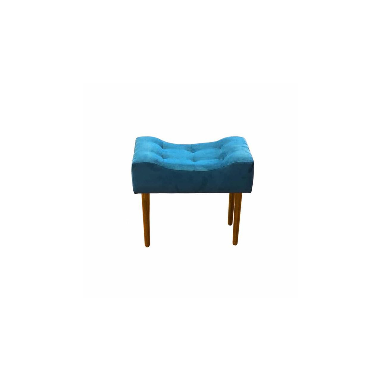 Kit 02 Poltrona Decorativa Nina com rodapé e Puff retangular Azul - Bela Casa Shop