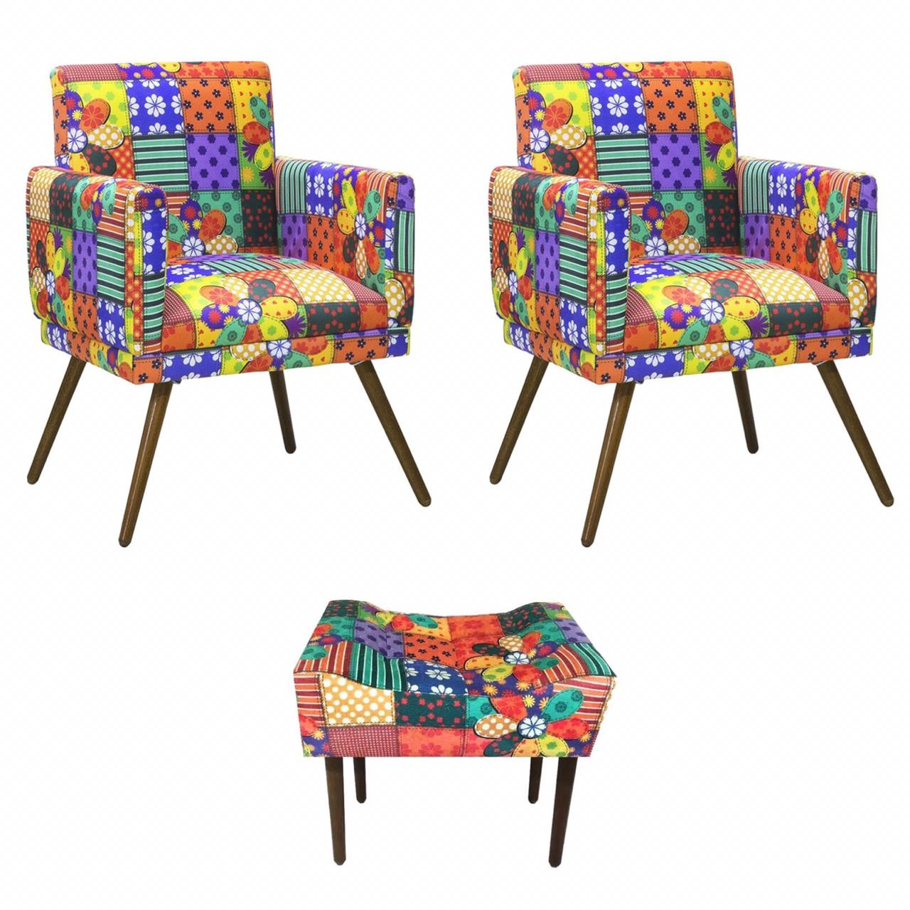 Kit 02 Poltrona Decorativa Nina com rodapé e Puff retangular Patchwork - Bela Casa Shop