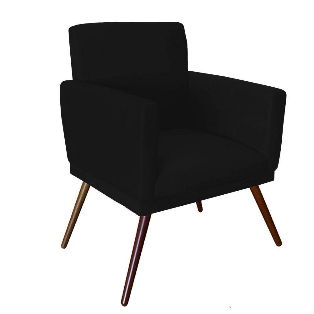 Kit 02 Poltrona Decorativa Nina com rodapé e Puff retangular Preto - Bela Casa Shop