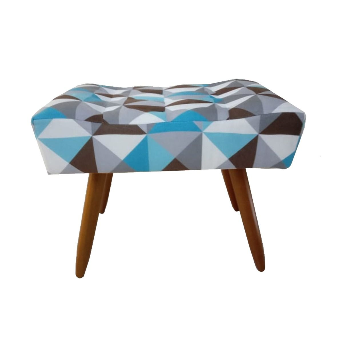 Kit 02 Poltrona Decorativa Nina com rodapé e Puff retangular Triângulo Azul - Bela Casa Shop