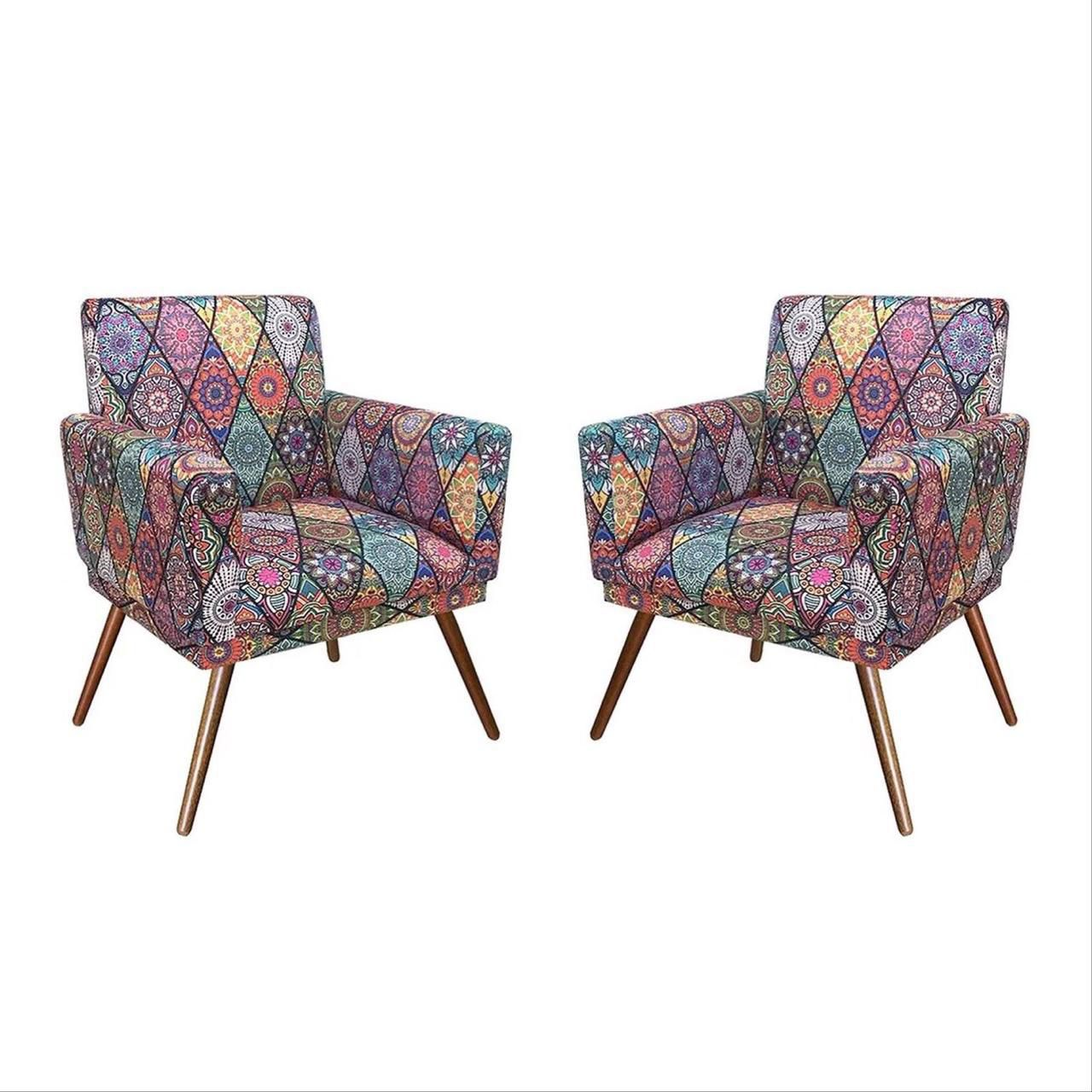 Kit 02 Poltrona Decorativa Nina com rodapé Mosaico - Bela Casa Shop