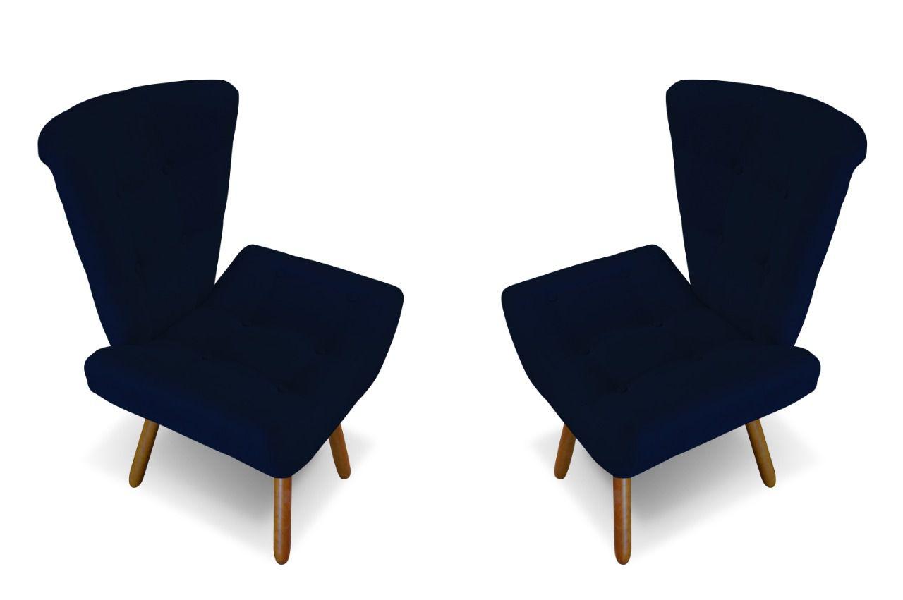 Kit 02 Poltronas Decorativa Emilia Azul Marinho