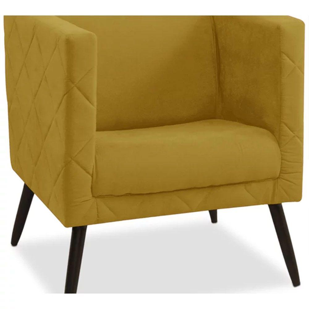 Kit 02 Poltronas Decorativa Maisa Suede Amarelo - D'Less