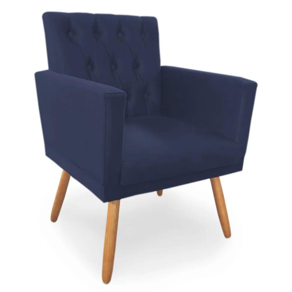 Kit 02 Poltronas Decorativa Nina Captone Azul Marinho - Bela Casa Shop