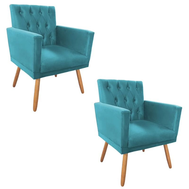 Kit 02 Poltronas Decorativa Nina Captone Azul Turquesa - Bela Casa Shop
