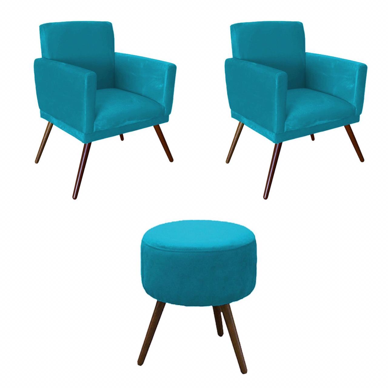 Kit 02 Poltronas Decorativa Nina com rodapé e Puff redondo Azul- Bela Casa Shop
