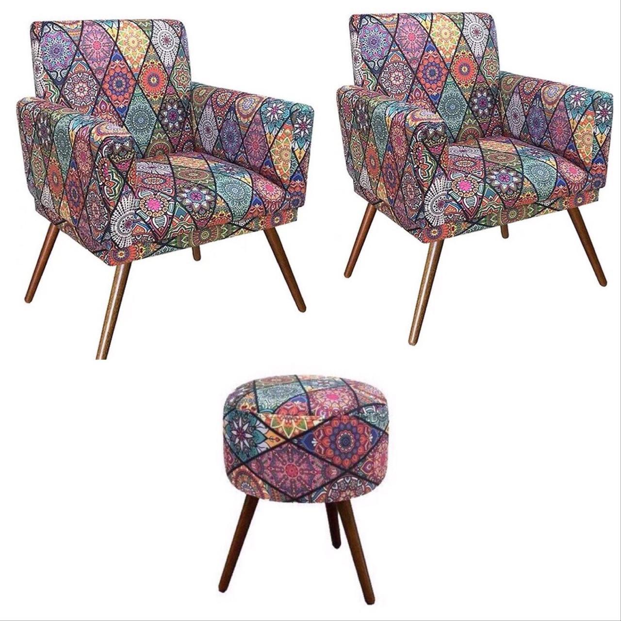 Kit 02 Poltronas Decorativa Nina com rodapé e Puff redondo Mosaico - Bela Casa Shop