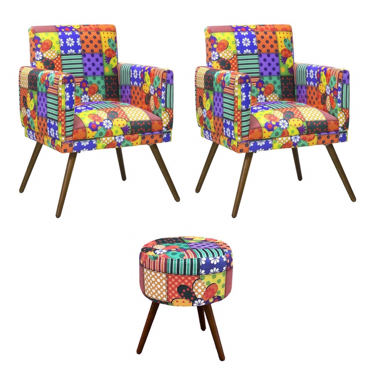 Kit 02 Poltronas Decorativa Nina com rodapé e Puff redondo Patchwork - Bela Casa Shop