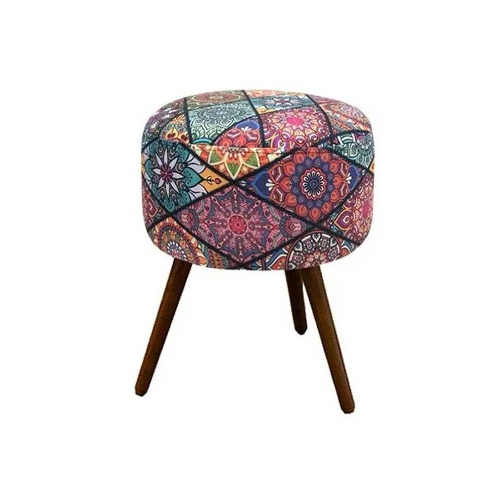 Kit 02 Poltronas Decorativa Nina e Puff redondo Mosaico