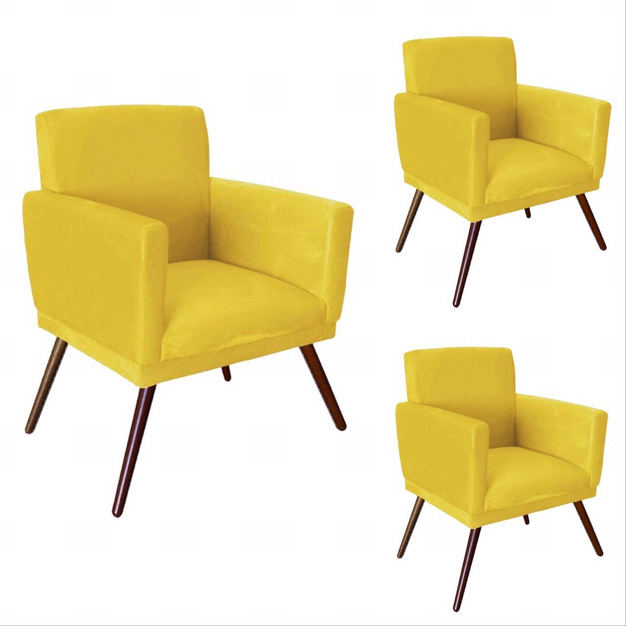 Kit 03 Poltrona Decorativa Nina com rodapé Amarelo - Bela Casa Shop