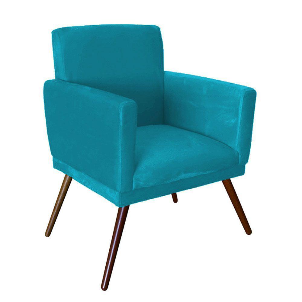 Kit 03 Poltrona Decorativa Nina com rodapé Azul