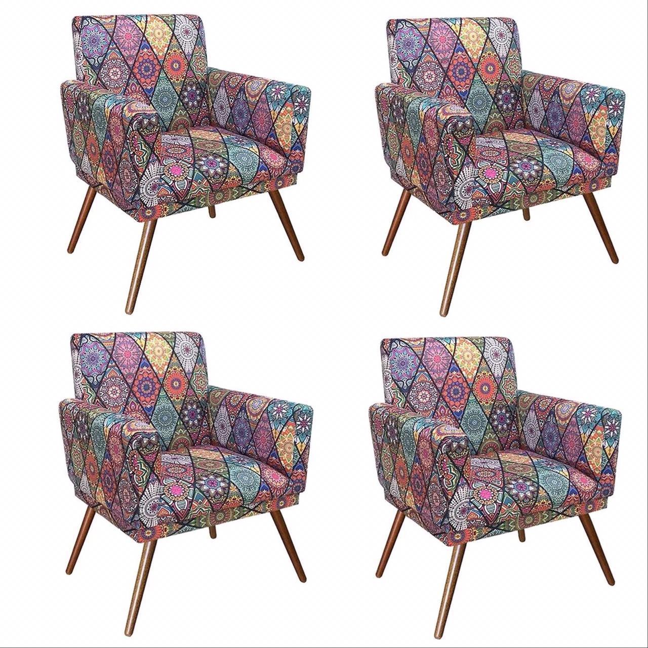 Kit 04 Poltrona Decorativa Nina com rodapés Mosaico- Bela Casa Shop