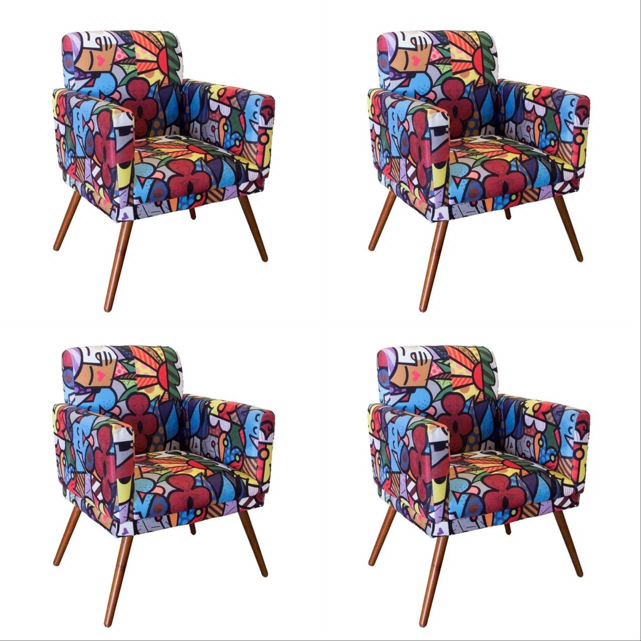 Kit 04 Poltrona Decorativa Nina com rodapés Romero Brito- Bela Casa Shop
