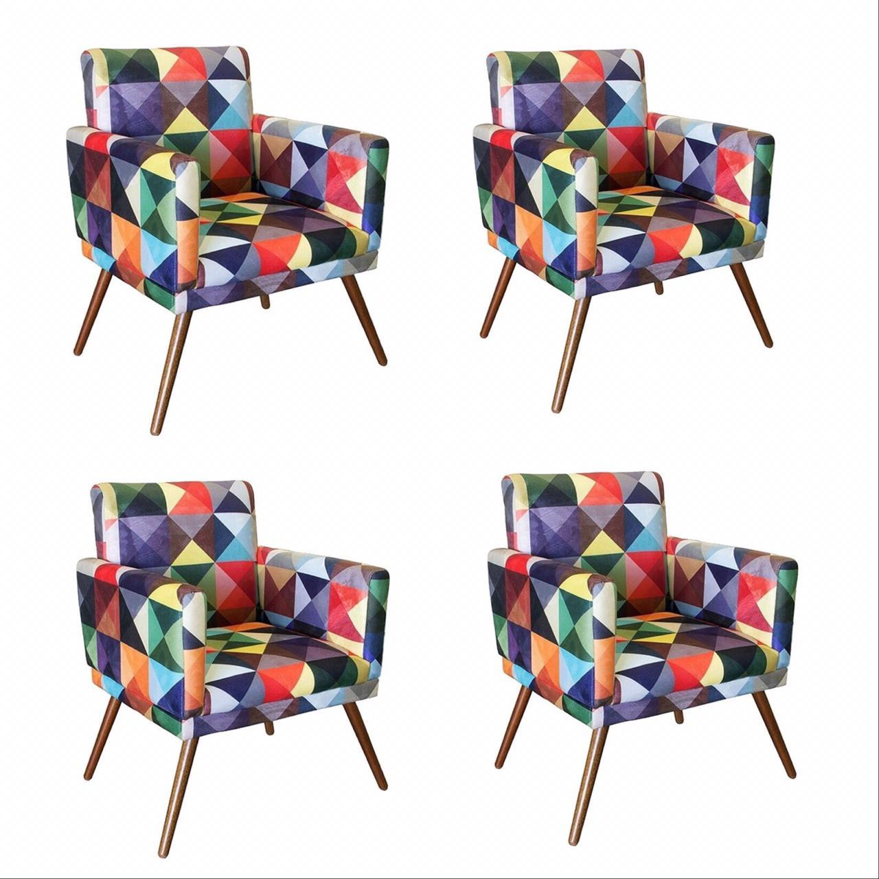 Kit 04 Poltrona Decorativa Nina com rodapés Triângulos- Bela Casa Shop