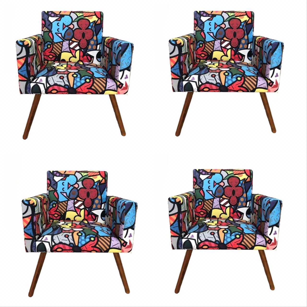Kit 04 Poltronas Decorativa Nina Romero Britto