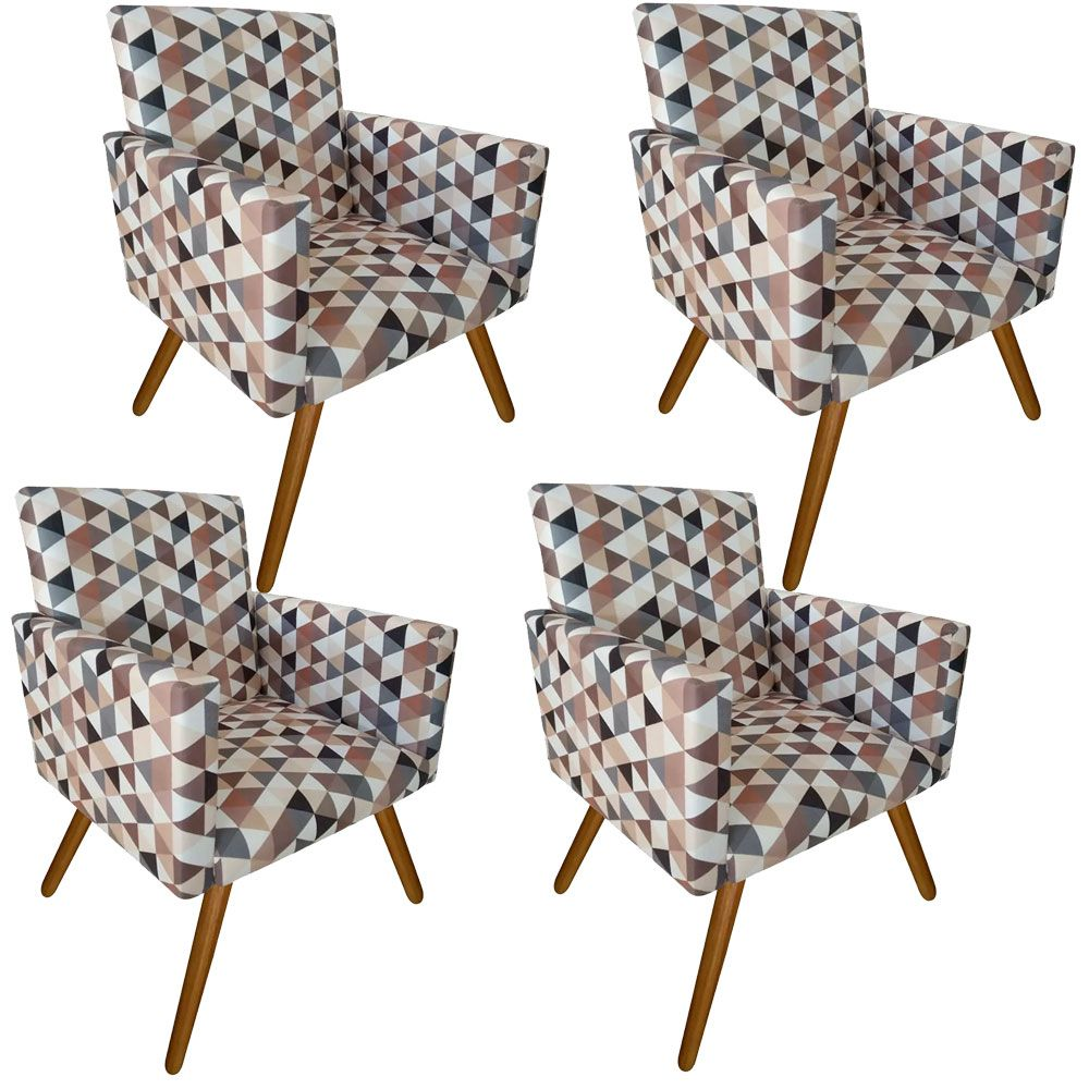 Kit 04 Poltronas Decorativa Nina Suede Triangulos Bege