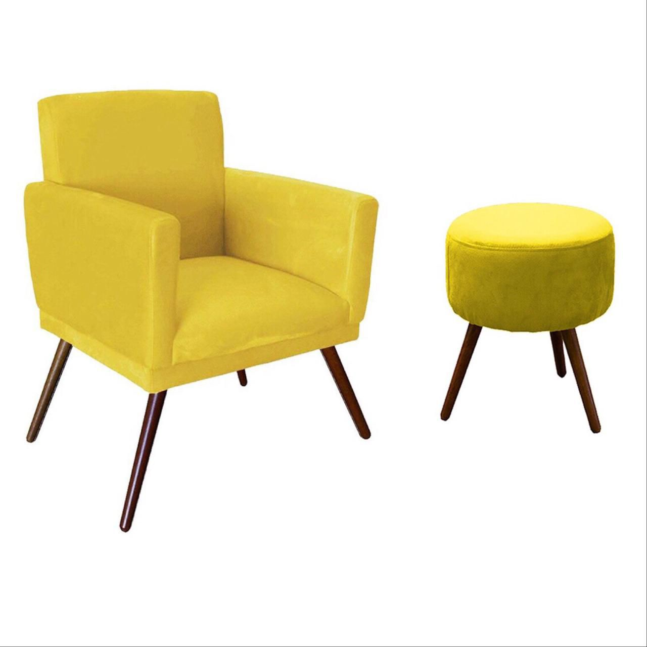 Kit Poltrona Decorativa Nina com rodapé e Puff redondo amarelo - Bela Casa shop