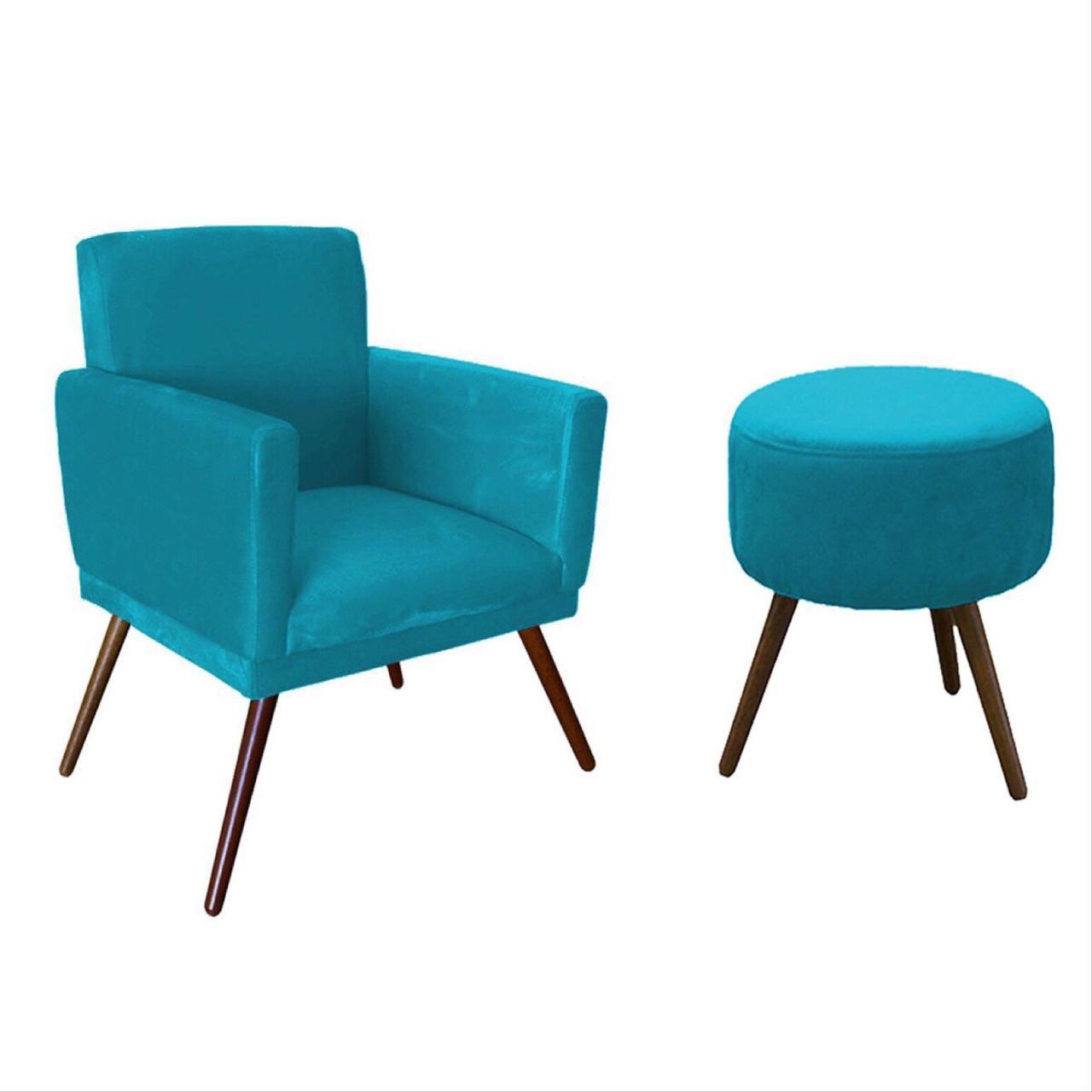 Kit Poltrona Decorativa Nina com rodapé e Puff redondo Azul - Bela casa Shop