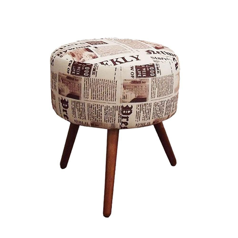 Kit Poltrona Decorativa Nina com rodapé e Puff redondo Jornal