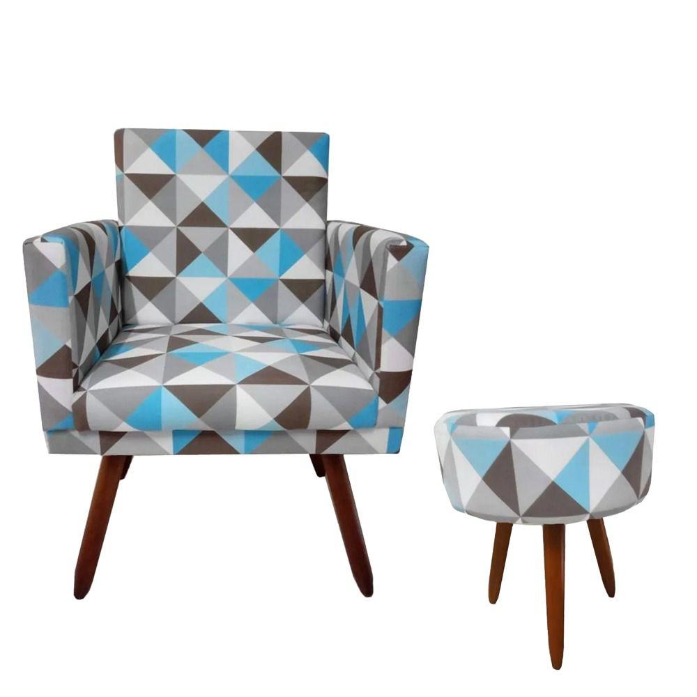 Kit Poltrona Decorativa Nina com rodapé e Puff redondo Triângulo Azul -Bela Casa Shop