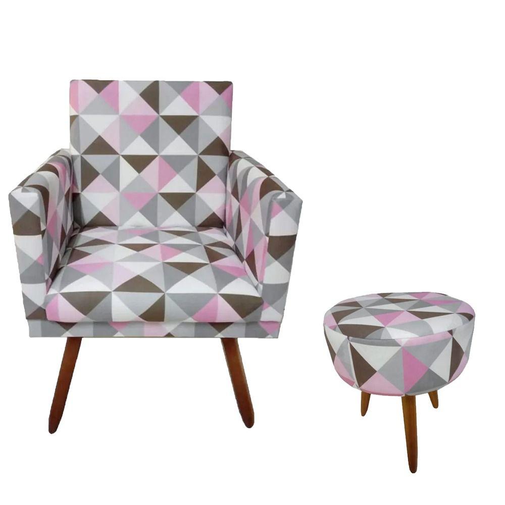 Kit Poltrona Decorativa Nina com rodapé e puff redondo Triângulo Rosa - Bela Casa Shop
