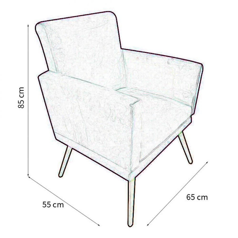Kit Poltrona Decorativa Nina com rodapé e Puff redondo Triângulos- Bela Casa Shop